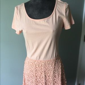 Delia's peach tshirt top and lace skirt dress